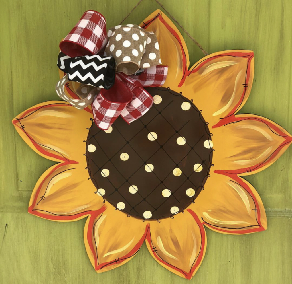 Sunflower Summer Painted DIY Door Hanger by Southern ADOORnments