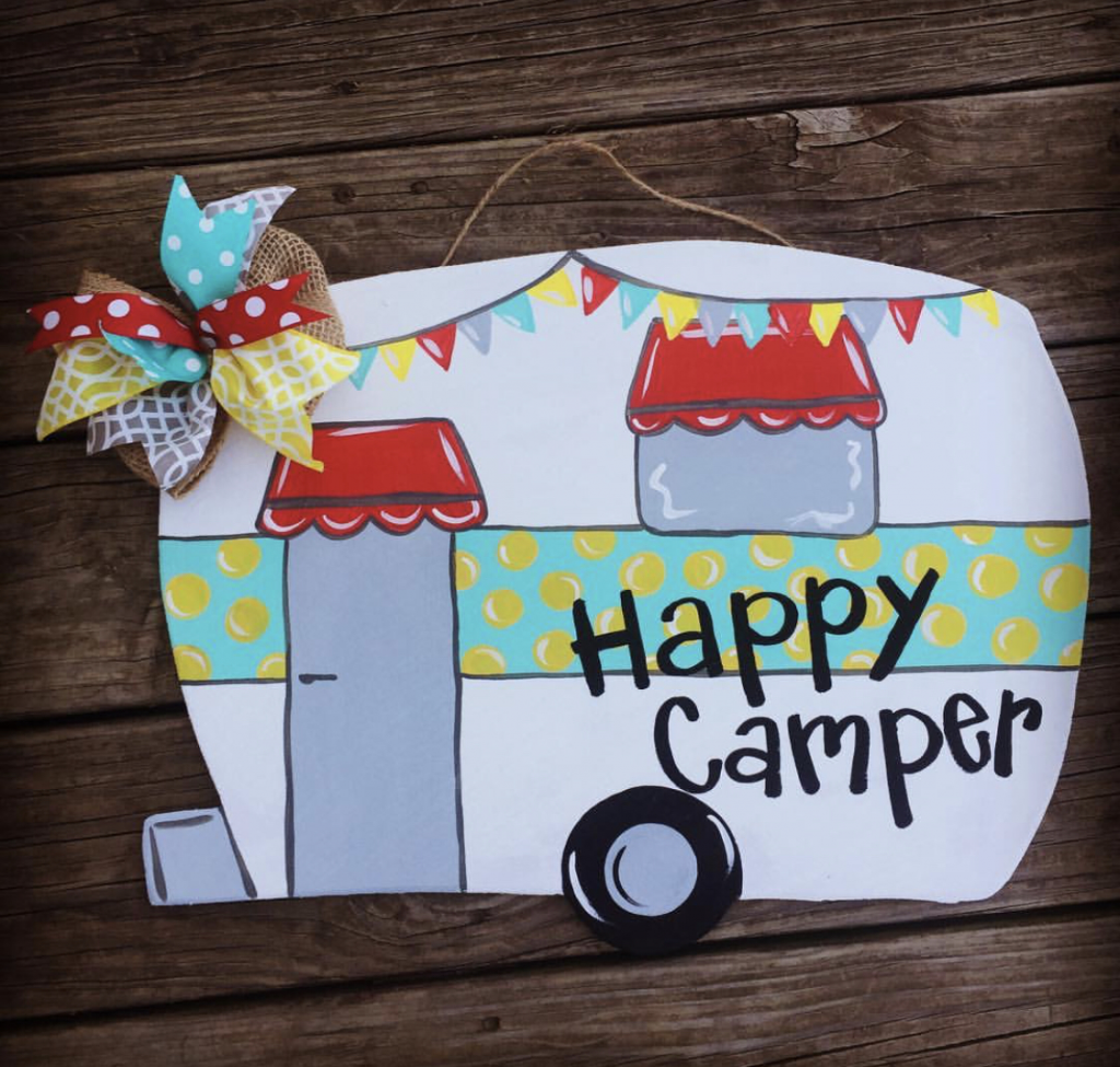 Happy Camper RV Camping Summer Painted DIY Door Hanger by Southern ADOORnments