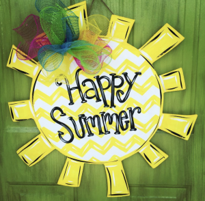Happy Summer Sunshine Painted DIY Door Hanger by Southern ADOORnments