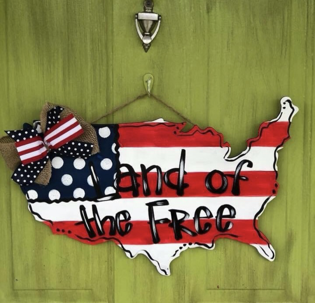 Patriotic Red White and Blue USA Painted Door Hangers by Southern ADOORnments