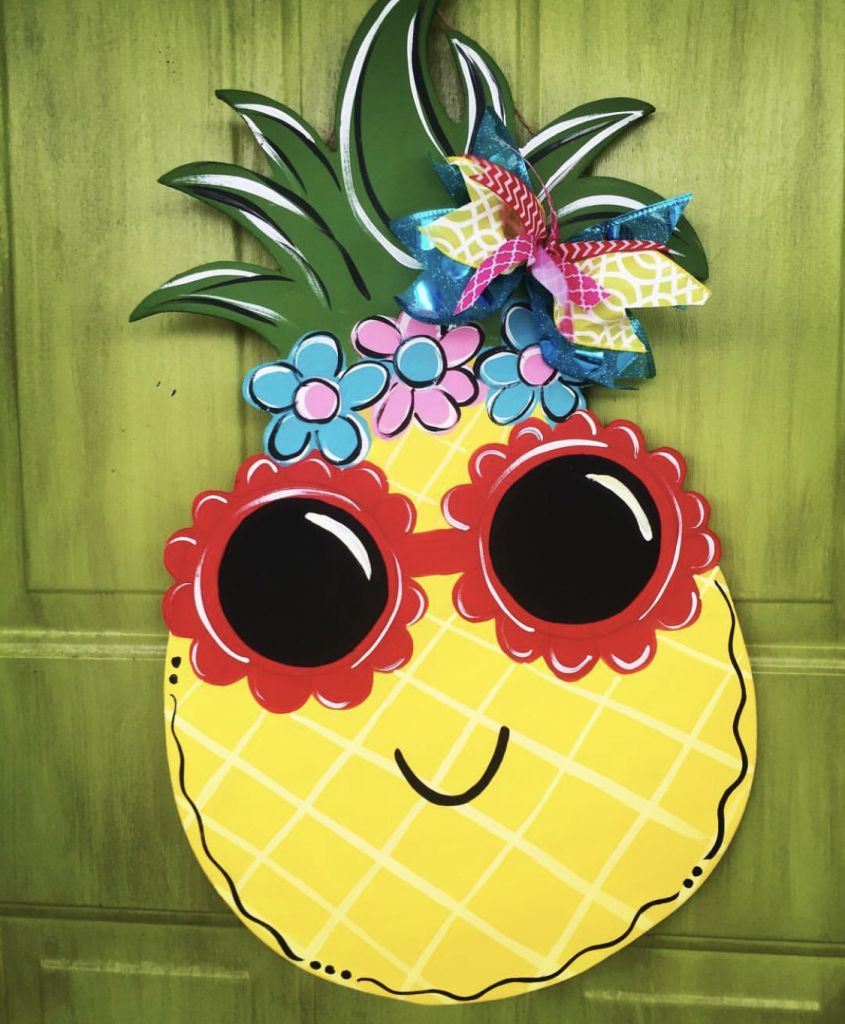 Pineapple Sunglasses Summer Painted Door Hanger by Southern ADOORnments
