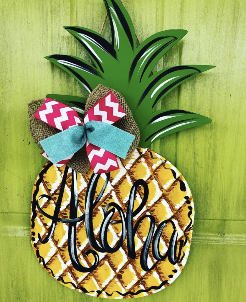 Pineapple Summer Painted DIY Door Hanger by Southern ADOORnments