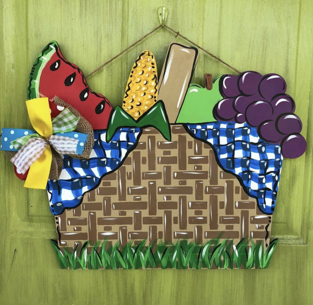 Picnic Basket Fruit Summer Painted DIY Door Hanger by Southern ADOORnments