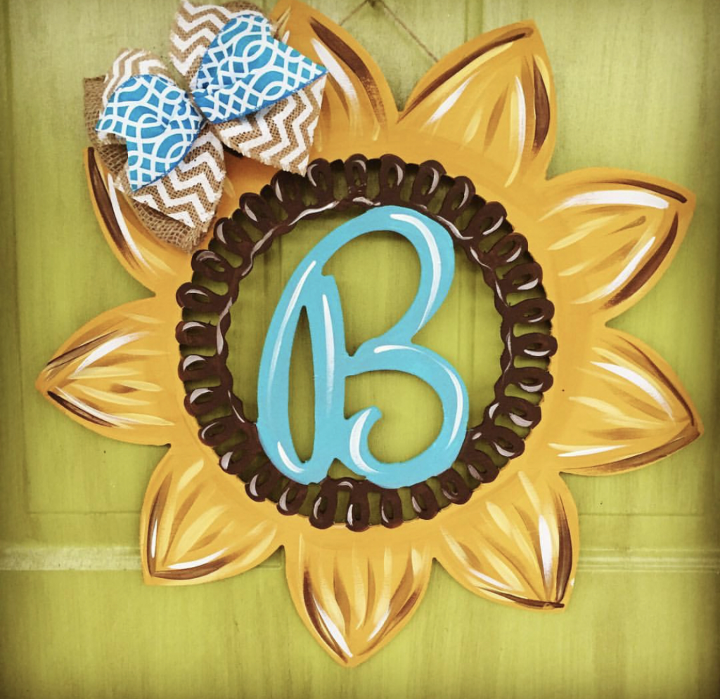 Monogram Initial Sunflower Summer Painted DIY Door Hanger by Southern ADOORnments