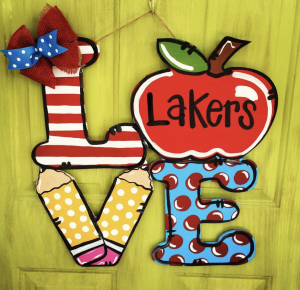 Back to School Apple Love Door Hanger by Southern ADOORnments