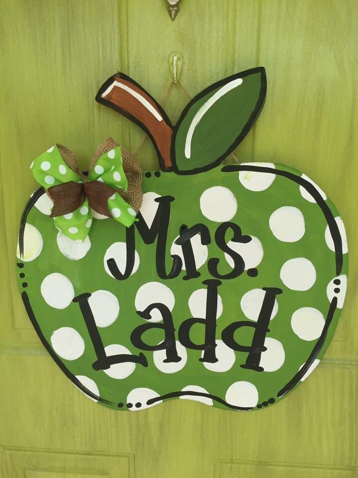 Back to School Polka Dot Teachers Apple Door Hanger by Southern ADOORnments
