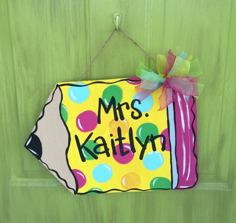Back to School Polka Dot Teachers Pencil Classroom Door Hanger by Southern ADOORnments
