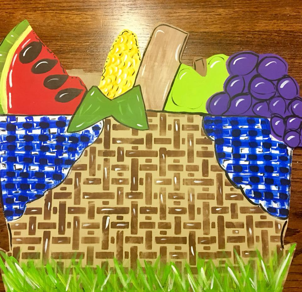 Summer Picnic Basket DIY Door Hanger by Southern ADOORnments