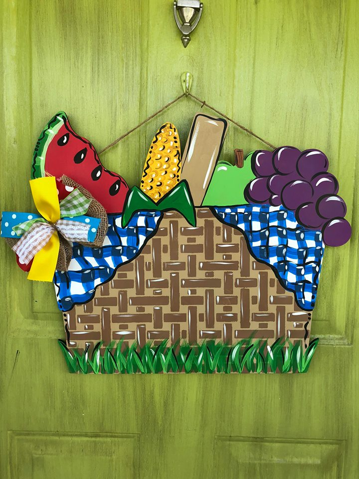 Tamara Bennett Summer Picnic Basket Painted Door Hanger by Southern ADOORnments