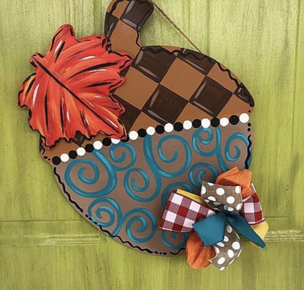 Fall Acorn Leaf Autumn Door Hanger by Southern ADOORnments