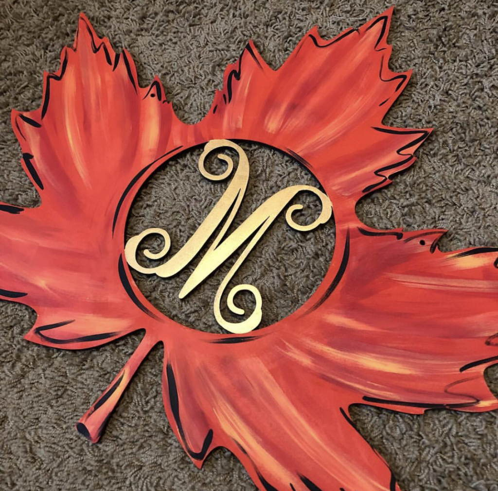 Fall Maple Leaf Monogram Autumn Door Hanger by Southern ADOORnments