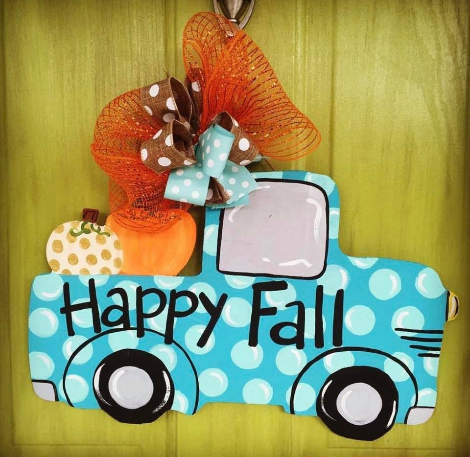 Fall Polka Dot Pickup Pumpkin Truck Autumn Door Hanger by Southern ADOORnments