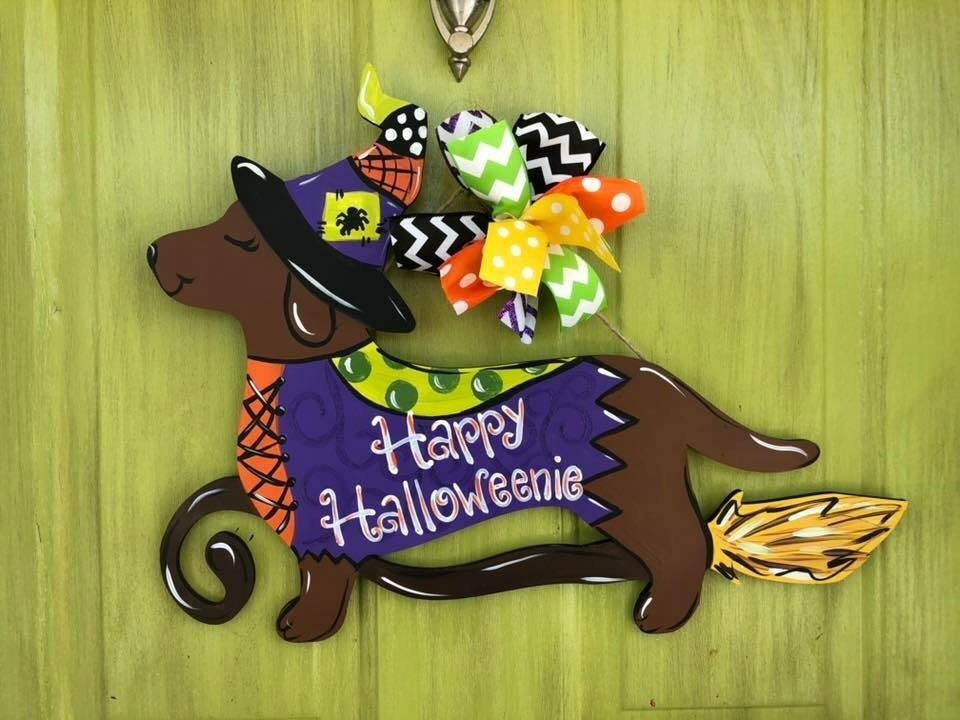 Halloweenie Halloween Dachschund Dog Painted Door Hanger by Southern ADOORnments
