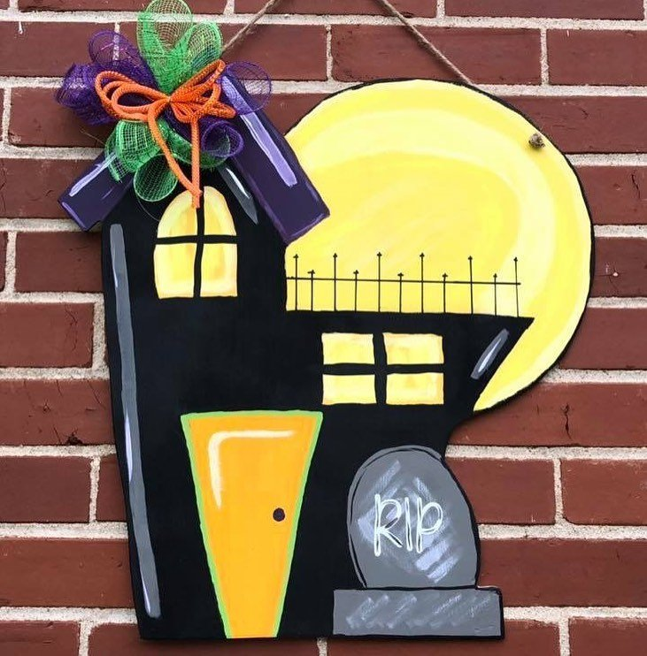 Haunted House Halloween Painted Door Hanger by Southern ADOORnments