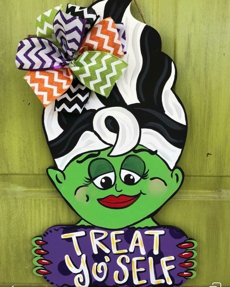 Mrs. Frankenstein Bride Halloween Door Hanger by Southern Adoornments