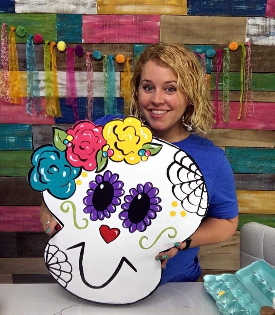 Sugar Skull Painted Dia Muertes Halloween Door Hanger by Southern ADOORnments