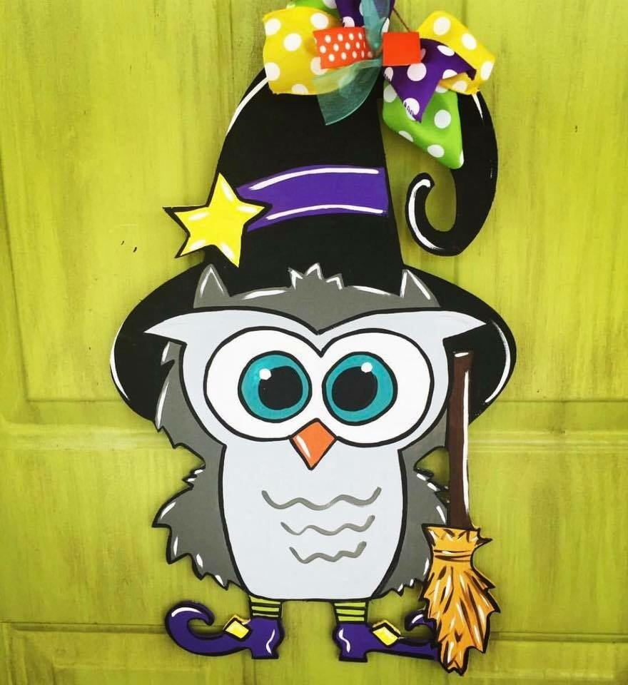 Witch Owl Halloween Painted Door Hanger by Southern ADOORnments