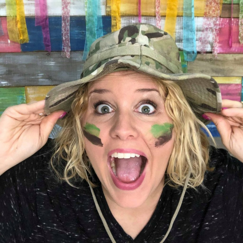 Tamara in Camo Paint Party Business Boot Camp by Southern ADOORnments