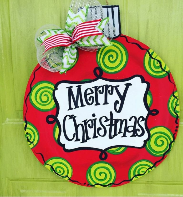 Ball Ornament Swirl Christmas Door Hanger by Southern ADOORnments