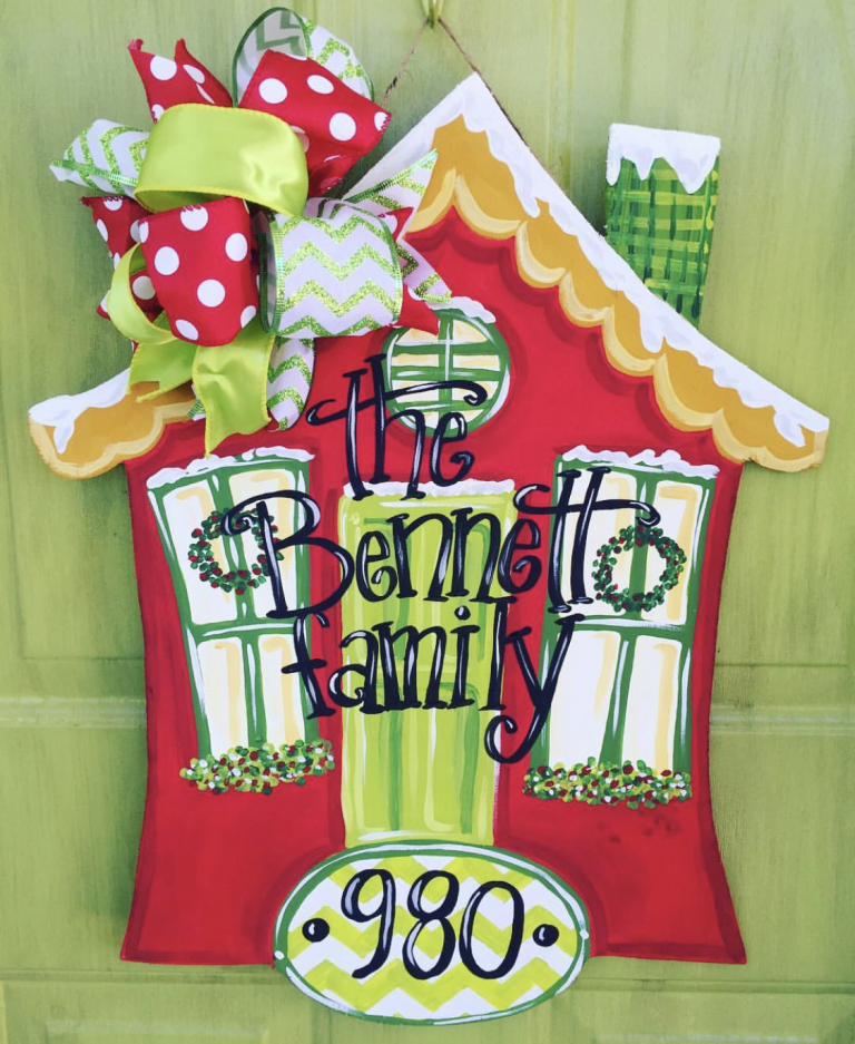 Family House Holiday Door Hanger for Christmas by Southern ADOORnments