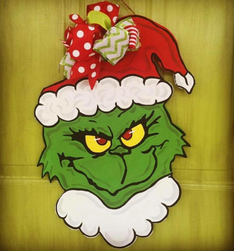 Grinch Santa Hat Christmas Door Hanger by Southern ADOORnments