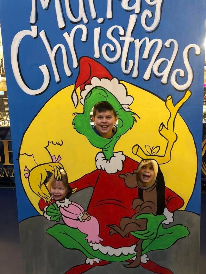 Kids in Grinch Photo Prop Christmas Painted Backdrop by Southern ADOORnments