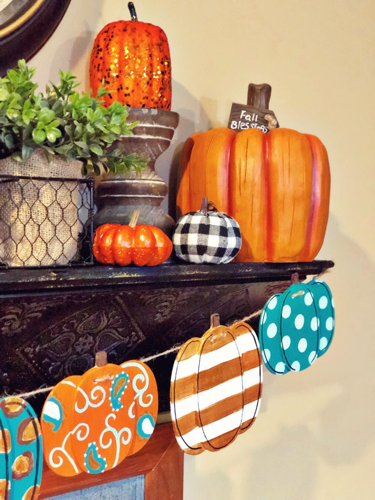 Painted Pumpkin DIY Fall Banner by Southern ADOORnments