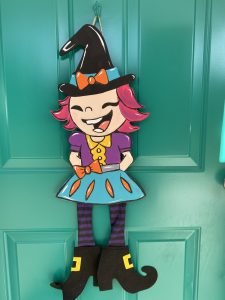 Painted Witch Halloween Front Door Hanger by Southern ADOORnments