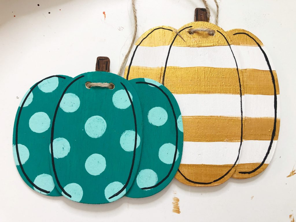 Painted wooden pumpkins banner gold teal fall decor by Southern ADOORnments