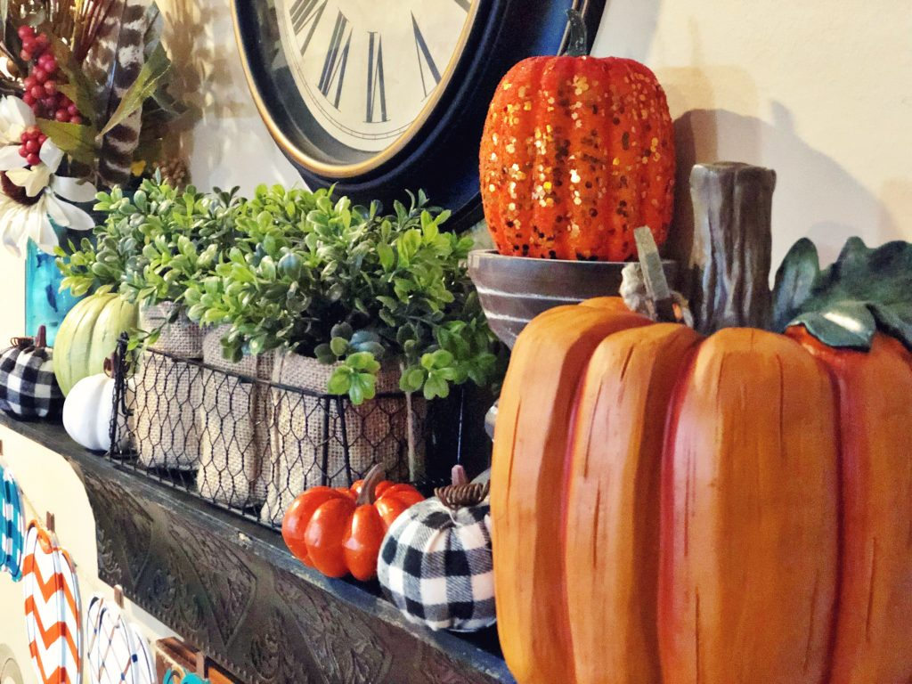 Pumpkin Fall Mantel Decor with Buffalo Plaid by Southern ADOORnments