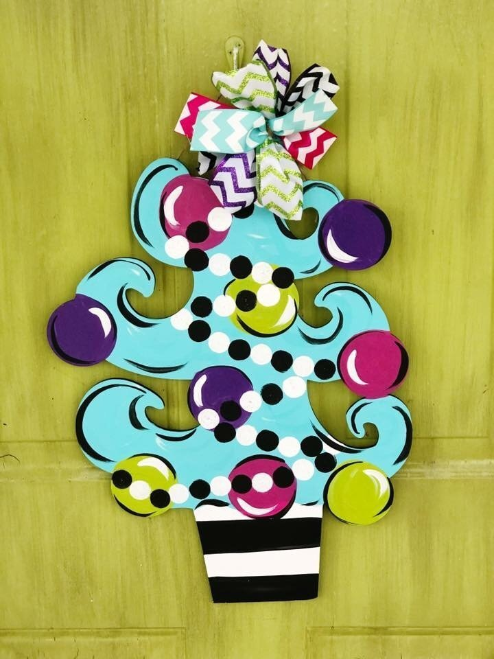 Whimsical Bright Christmas Tree Door Hanger b