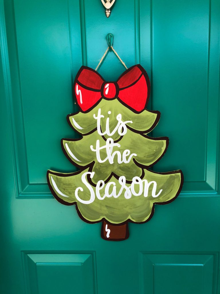 tis the season Christmas door hanger by Southern ADOORnments
