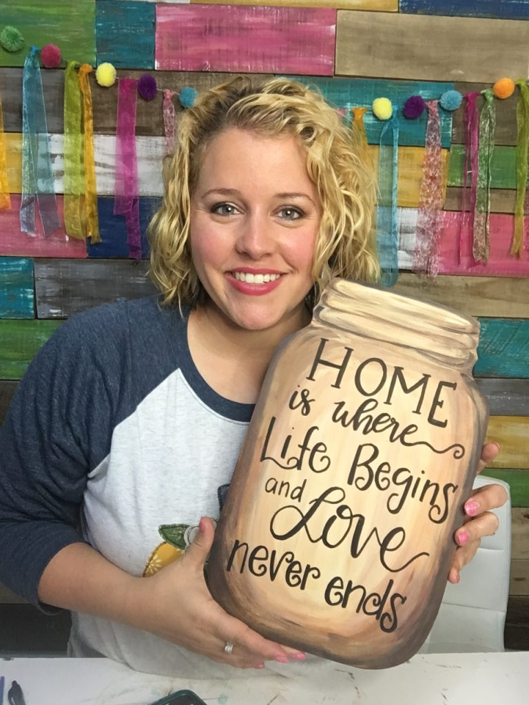 Easy Hand Lettering Technique on a Rustic Mason Jar Door Hanger
