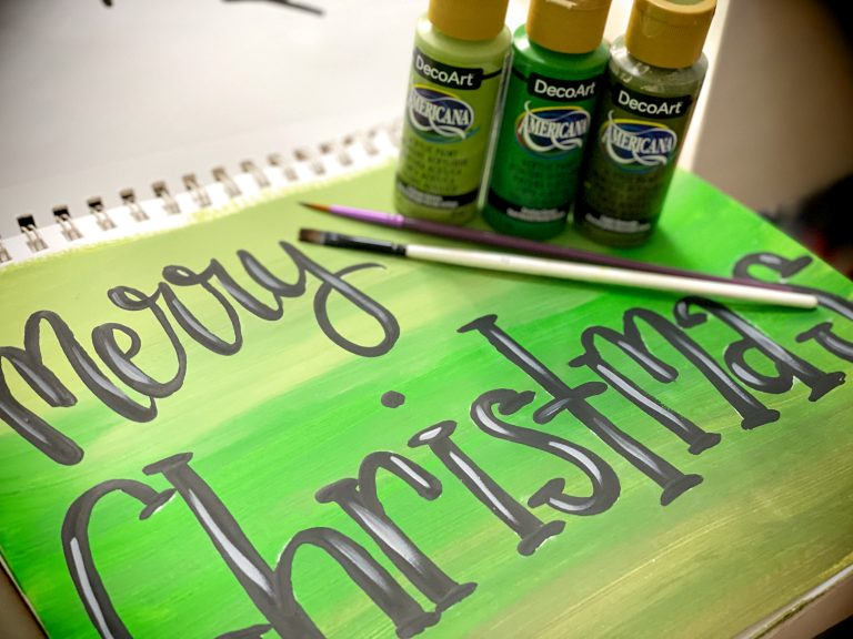 Paint and Brushes for Hand Lettering Door Hangers by Southern ADOOrnments