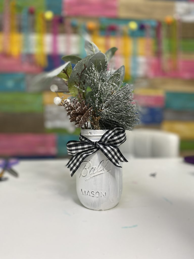 Painted Christmas Mason Jar with Buffalo Plaid Ribbon by Southern ADOORnments