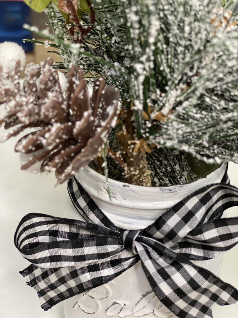 Pinecone Greenery Painted Christmas Mason Jar with Buffalo Plaid Ribbon by Southern ADOORnments