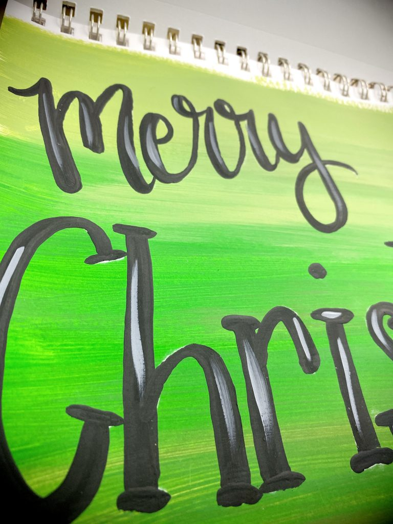 Round Tip Vs Filbert Tip Paint Brush Merry Christmas Hand Lettering Door Hanger by Southern ADOORnments