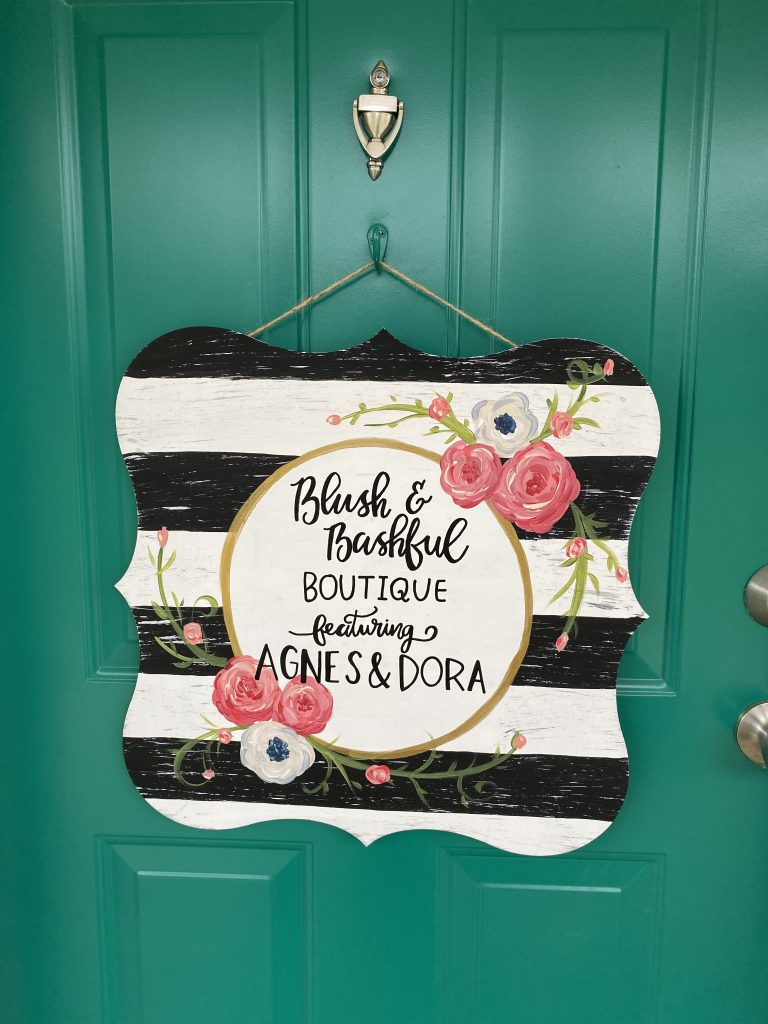 Shabby Stripes and Flowers Door Hanger