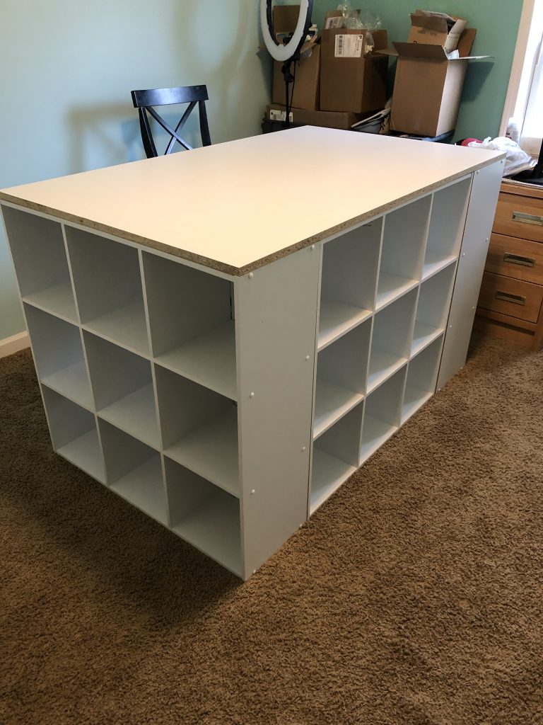 Easy DIY Craft Room Desk Island Project by Southern ADOORnments