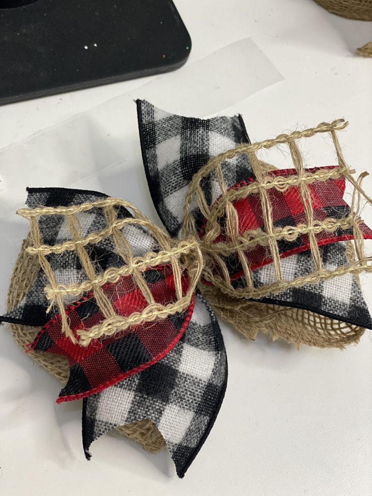 Burlap and Red and Black Buffalo Plaid DIY Christmas Door Hanger Bows by Southern ADOORnments