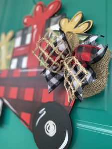 Closeup of Holiday Buffalo Plaid and Burlap Ribbon DIY Christmas Door Hanger Bows by Southern ADOORnments