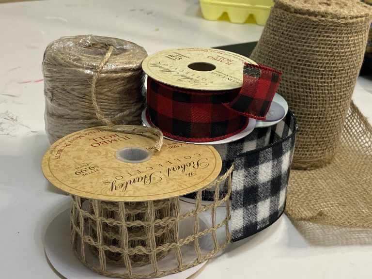 Collection of Buffalo Plaid and Burlap Ribbon - DIY Christmas Door Hanger Bows by Southern ADOORnments