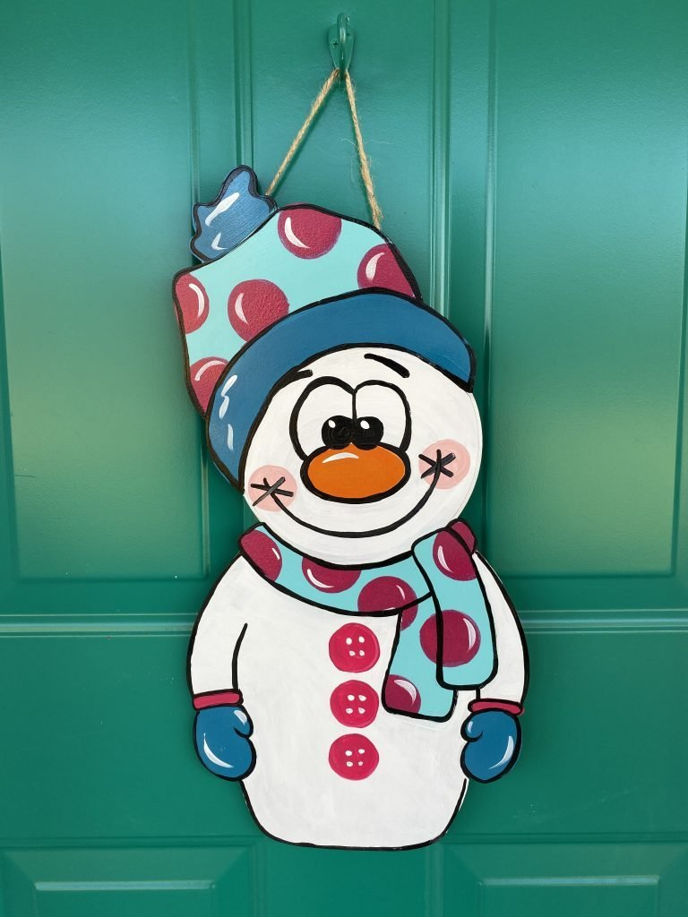 Cuddly Snowman Winter Christmas Door Hanger by Southern ADOORnments