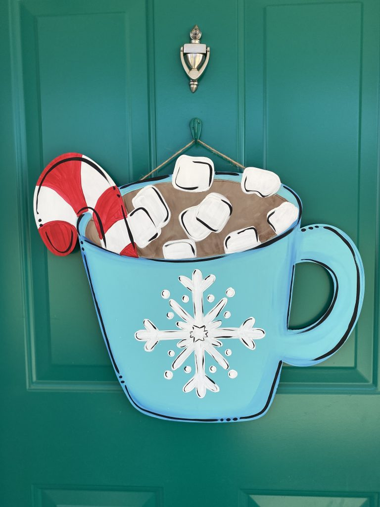 Front Porch Hot Chocolate Winter Cocoa Painted Door Hanger by Southern ADOORnments