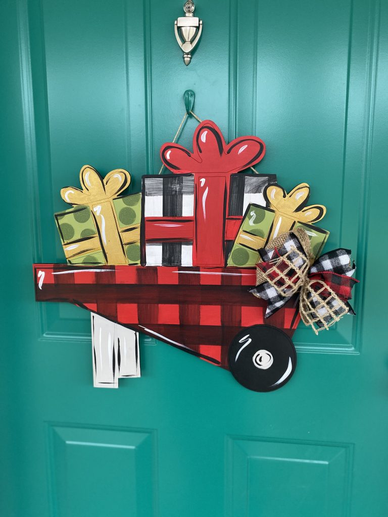 Holiday Gift Buffalo Plaid Wheelbarrow with DIY Christmas Door Hanger Burlap Bow by Southern ADOORnments