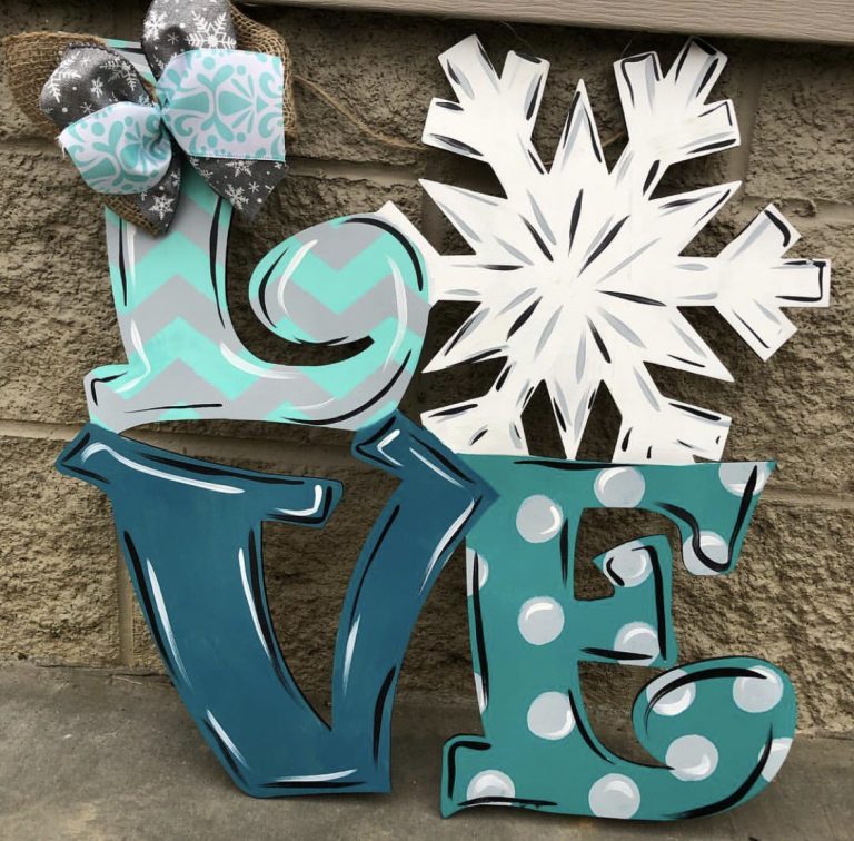 LOVE Snow Snowflake Winter Christmas Door Hanger by Southern ADOORnments