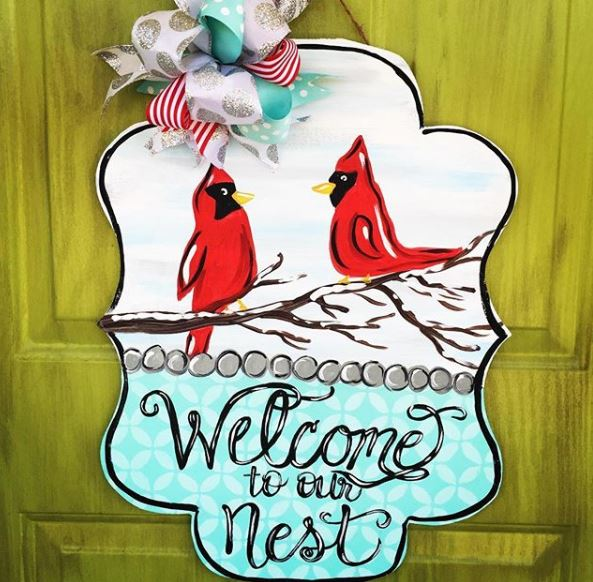 Welcome Nest Snow Cardinals Winter Christmas Door Hanger by Southern ADOORnemnts
