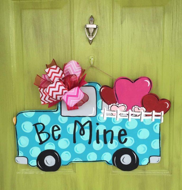 Be Mine Vintage Pickup Truck Valentine's Day Door Hanger