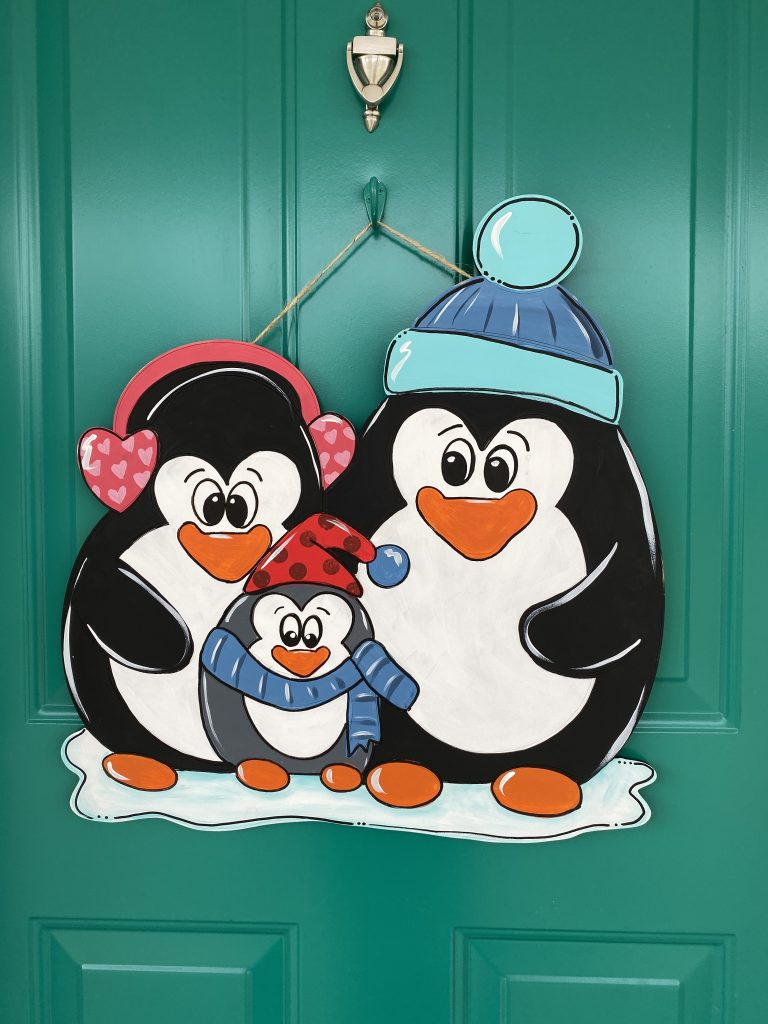 Front Door with Snowy Penguins Winter Door Hanger by Southern ADOORnments
