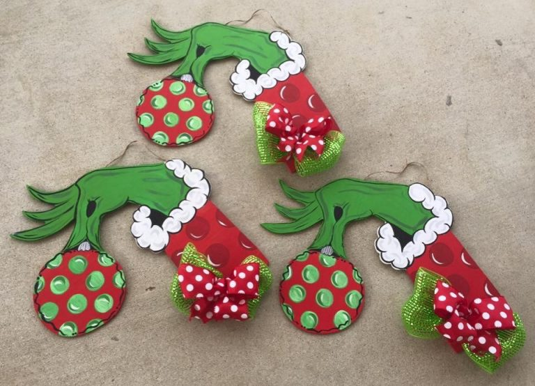 Grinch Hand Christmas Door Hangers - How to Batch Paint by Southern ADOORnments
